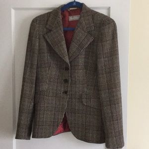 MaxMara plaid wool jacket size 14